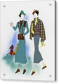 Two Fashionable Women Walking In Park Acrylic Print by Raymond de Lavererie