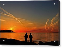 Two Friends Enjoying A Sunset Acrylic Print