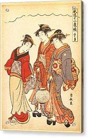 Two Geisha Preceded By A Maid Carrying A Lantern Acrylic Print by Torii Kiyonaga