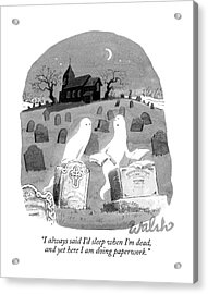 Two Ghosts Talk In A Graveyard.  One Is Holding Acrylic Print
