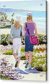 Two Girls At Dog Beach Del Mar Acrylic Print