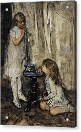 Two Girls Blowing Bubbles Acrylic Print by Jacob Maris