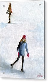 Two Girls Ice Skating Watercolor Painting Acrylic Print by Beverly Brown