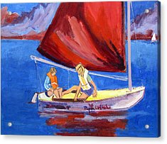 Two Girls Set To Sail With Red Sail Acrylic Print by Betty Pieper