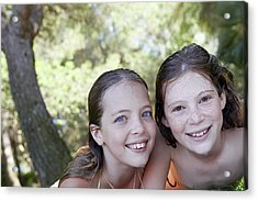 Two Girls Smiling Acrylic Print by Ruth Jenkinson