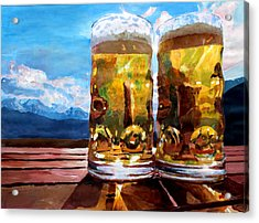 Two Glasses Of Beer With Mountains Acrylic Print by M Bleichner