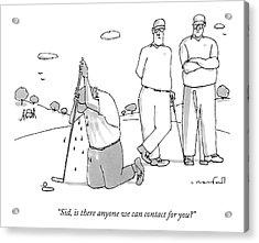 Two Golfers Speak To A Man Acrylic Print