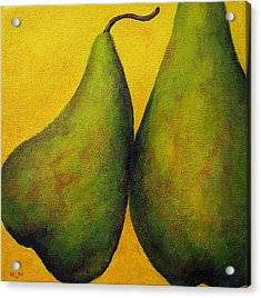 Two Green Pears Acrylic Print by Marie-louise McHugh