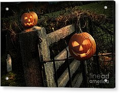 Two Halloween Pumpkins Sitting On Fence Acrylic Print