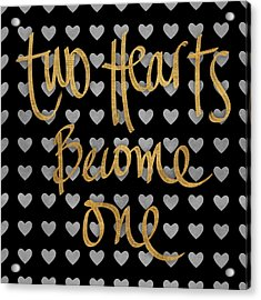Two Hearts Become One Pattern Acrylic Print by South Social Studio