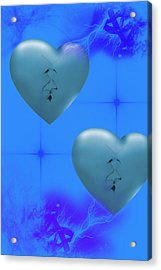 Acrylic Print featuring the digital art Two Hearts Together On Valentine's Day  by Angel Jesus De la Fuente