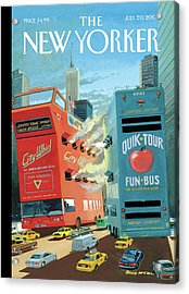 Two Huge Double Decker Tourist Buses Shooting Acrylic Print by Bruce McCall
