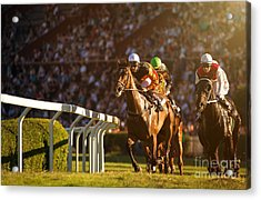 Two Jockeys During Horse Races On His Acrylic Print