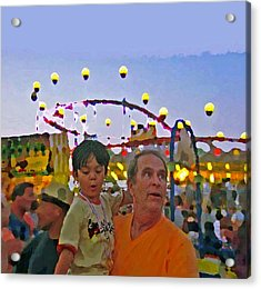 Two Kids At The Jersey Shore Acrylic Print by Lisa Piper