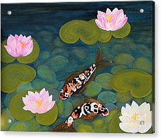 Two Koi Fish And Lotus Flowers Acrylic Print