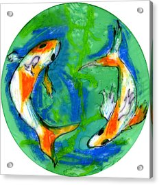 Two Koi Fish Acrylic Print by Genevieve Esson