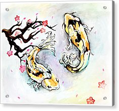 Two Kois Acrylic Print by Miguel Karlo Dominado