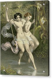 Two Ladies On A Swing Acrylic Print by Charles Bargue