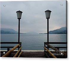 Acrylic Print featuring the photograph Two Lanterns At The Jetty Pier Of Lake Attersee by Menega Sabidussi