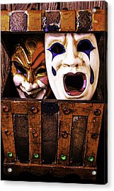 Two Masks In Box Acrylic Print by Garry Gay
