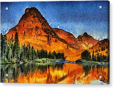 Two Medicine Sunrise - Digital Painting Acrylic Print