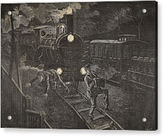 Two Men Hit By A Train Illustration Acrylic Print by French School