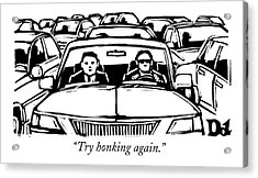 Two Men In A Car Are Stuck In Traffic Acrylic Print