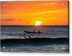 Two Men Paddling A Hawaiian Outrigger Canoe At Sunset On Maui Acrylic Print
