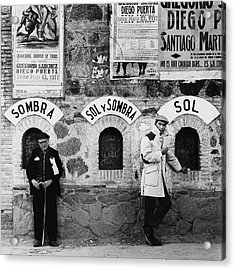Two Men Posing By A Wall Covered In Spanish Acrylic Print by Chadwick Hall