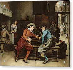 Two Men Talking In A Tavern Acrylic Print by Jean Charles Meissonier