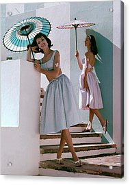 Two Models Posing With Parasols Acrylic Print