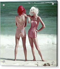 Two Models Standing On A Beach Acrylic Print by Frances McLaughlin-Gill