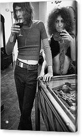 Two Models Wearing 1970s Style Clothing Acrylic Print by Rene De Bauge-Cahan