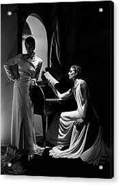 Two Models Wearing Clothing By Yrande And Maggy Acrylic Print by Horst P. Horst