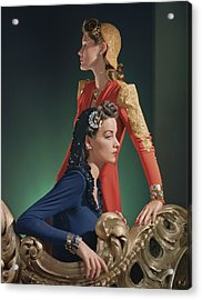 Two Models Wearing Evening Gowns Acrylic Print by Horst P. Horst