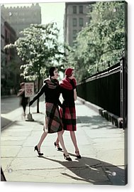 Two Models Wearing Plaid Mohair Skirts And Stoles Acrylic Print