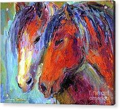Two Mustang Horses Painting Acrylic Print by Svetlana Novikova