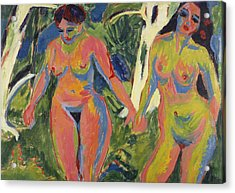 Two Nude Women In A Wood Acrylic Print by Ernst Ludwig Kirchner