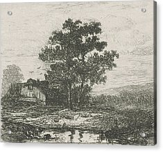 Two Oaks And A Wooden House, Hermanus Jan Hendrik Van Acrylic Print