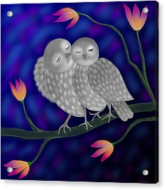 Two Owls Acrylic Print by Latha Gokuldas Panicker