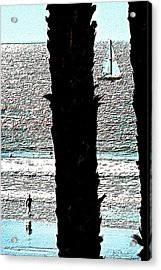 Two Palms Sailboat And Swimmer Acrylic Print by Brian D Meredith