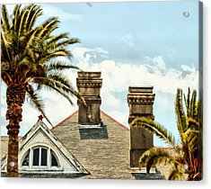 Two Palms Two Chimneys And Gable Acrylic Print by James Stough