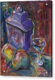 Two Pears And A Purple Jar Acrylic Print