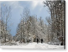 Two People Doing A Walk In Beautiful Forest In Winter Acrylic Print