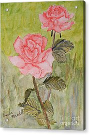 Two Pink Roses Acrylic Print