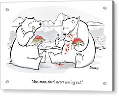 Two Polar Bears Eat Spaghetti And Meatballs.  One Acrylic Print by Benjamin Schwartz