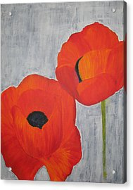 Two Poppies And Old Denim Acrylic Print