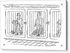 Two Prisoners Sit In Separate Dog Kennel Cells Acrylic Print by Danny Shanahan