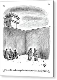 Two Prisoners Talk In The A Prison Yard Acrylic Print