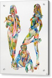 Two Psychedelic Girls With Chimp And Banana Portrait Acrylic Print by Fabrizio Cassetta